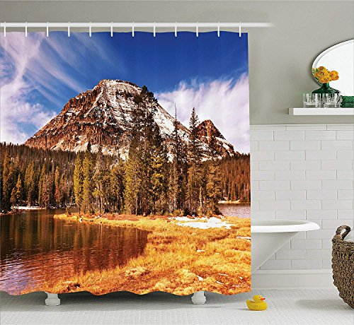 (TAMMY CHAPPELL Americana Landscape Decor Shower Curtain, Countryside in Fall Rocky Cliffs by Creek Pine Grassland Natural Park, Fabric Bathroom Decor Set with Hooks, 70 Inches, Multi)