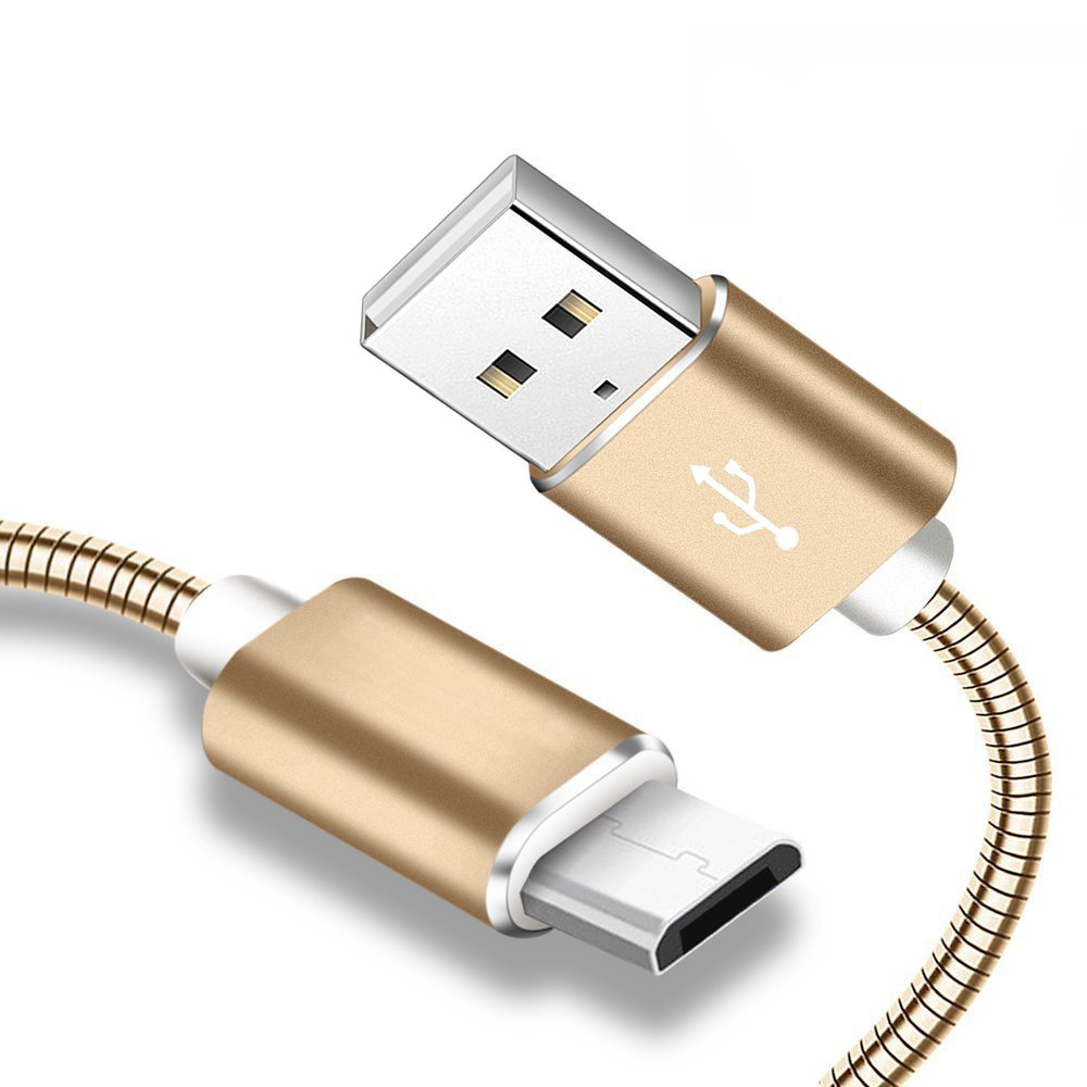 HOISAN Micro USB Cable 2-Pack 3.3FT Metal Braided Android Charger Cord Fast Charging Sync Samsung, HTC, Motorola, Nokia, Kindle, MP3, Tablet More - Gold