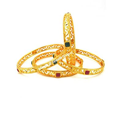 buy bangles stone floral gold jewellery img fancy green size online plated design traditional
