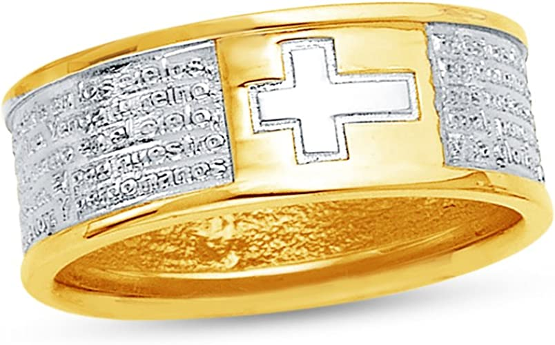 CZ Cubic Zirconia Mens Solid 14k Two 2 Tone White and Yellow Gold Wedding Band