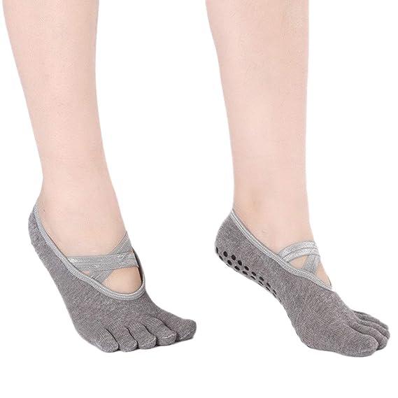 Vococal Yoga Calcetines Mujeres, Mujeres Yoga Pilates Calcetines 5 Dedos de los Pies Bajo Corte Antideslizante Calcetines de Agarre para Ballet Danza ...