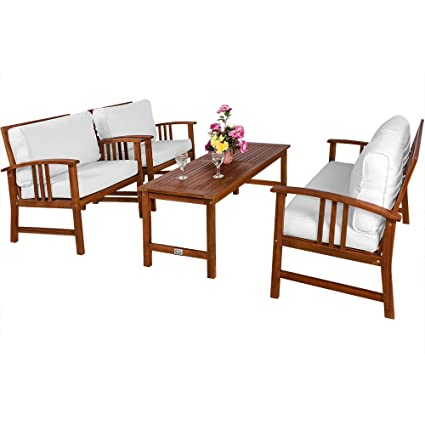 Deuba Lounge Sitzgruppe Atlas Akazien Holz Auflagen Sessel Bank Tisch Gartenmobel Sitzgarnitur Garten Set Creme