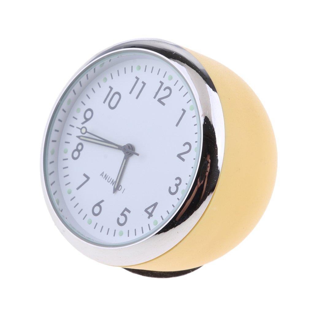 Homyl Car Clock, High Accuracy Car Dashboard Clock Classic Table Mini Quartz Clock Car Onboard Small Round Luminated Clock (Size: 40 x 40 x 30 mm) - Yellow+White