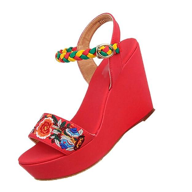 Yuncai Donna Moda Piattaforma Zeppa Sandali Scamosciato Traspirante Confortevole Scarpe Estive da Spiaggia Rosso 34 05EoyE