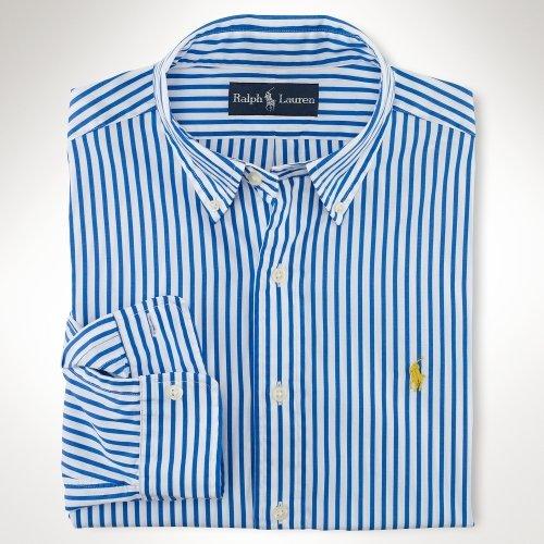 Polo Ralph Lauren Classic-Fit Striped Sport Shirt, Blue, L