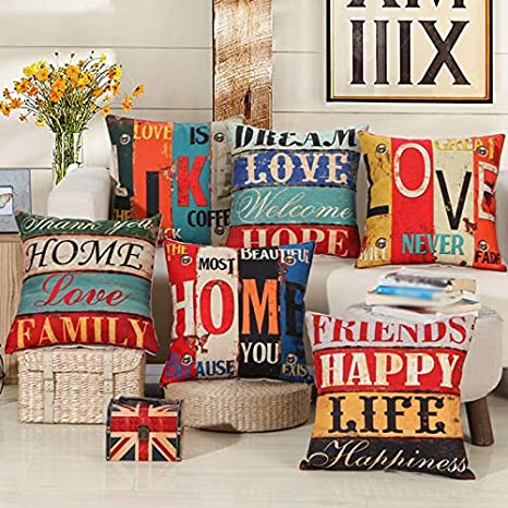 Qinlee Creative Retro Beige Style Pillow cover Continental Mediterranean pillow Cushion 45x45cm//18x18inch