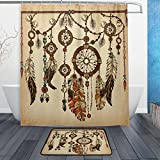 WOZO Vintage Ethnic Dreamcatcher Polyester Fabric Bathroom Shower Curtain 60 x 72 inch with Hooks Modern Bathroom Doormat Rug 23.6 x 15.7 inch