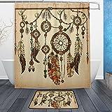 WOZO Vintage Ethnic Dreamcatcher Polyester Fabric Bathroom Shower Curtain 60 x 72 inch with Hooks Modern Bathroom Doormat Rug 23.6 x 15.7 inch