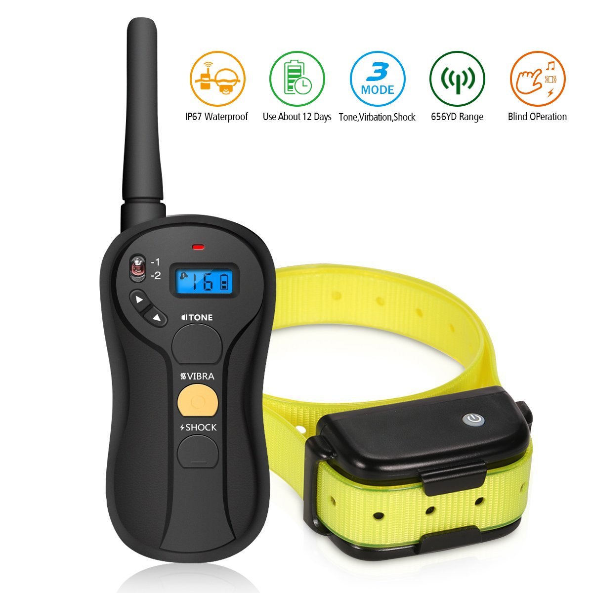 Remote Dog Training Collar FOCUSPET Electric Dog Training Shock Collar with Remote 655 yd Rechargeable and Waterproof 16 Levels ToneVibration & Shock for Small Medium & Large Dogs
