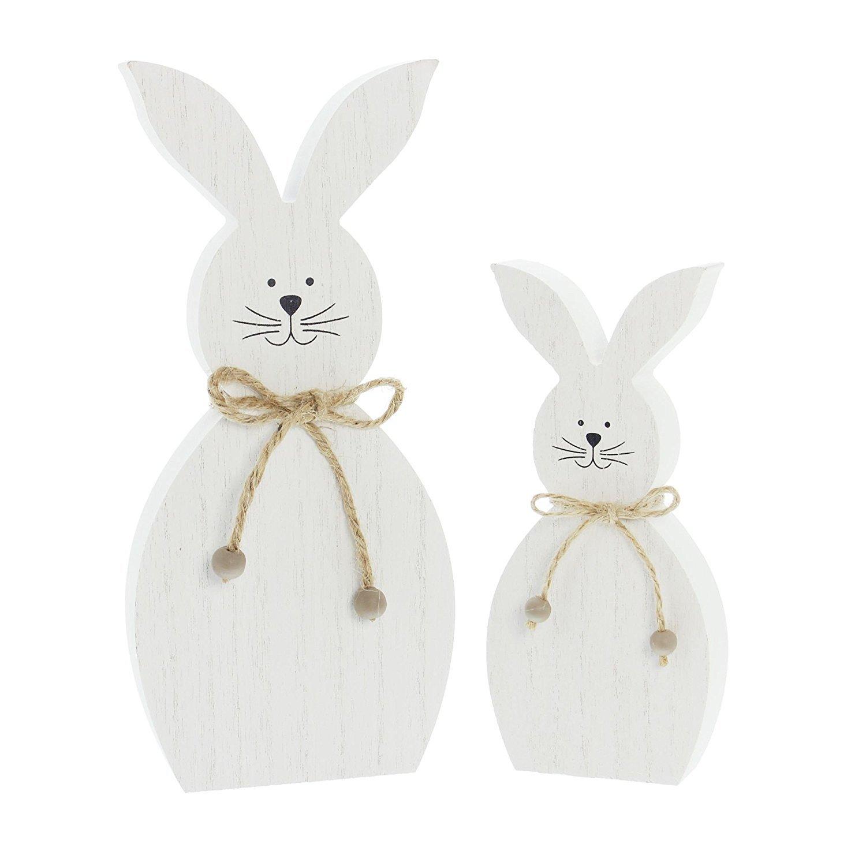 Decorazione a forma di lepre modello White, grazioso set con 2 figure in semplice tonalità bianca, legno decorato con corda e piccole perle in legno, altezza 18cm, 25cm altezza 18cm 25cm Frank Flechtwaren