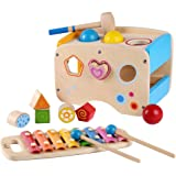 Rolimate Wooden Learning Hammering & Pounding Toys + 8 Notes Xylophone + Shape Color Recognition, Best Birthday Gift Toy for age 3 4 5 Years Old and Up Kid Children Baby Toddler Boy Girl