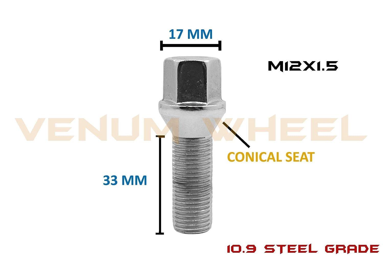 10 Pcs Extended Chrome Lug Bolts 12x1.5 33 mm Shank Length Compatible With BMW 128i 135i 318i 320i 325i 328i 335i M3 525i 528i 530i 535i M5 Z3 Z4 E36 E46 E60 E90 E92 E93 Cone Seat Not OEM Length