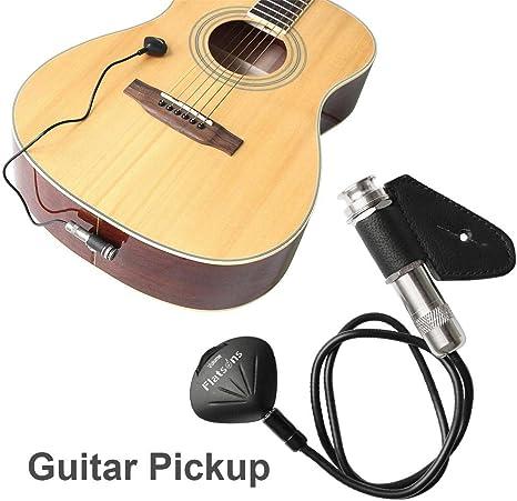Pastilla para guitarra acústica, transductor de micrófono piezocontacto para guitarra, ukelele, violín, violonchelo, banjo, kalimba, mandolina: Amazon.es: Instrumentos musicales