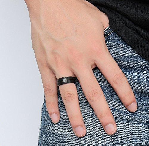 Vnox 8 hommes est en titane pur du zircon de confort bande sapin noir engagement bague de mariage