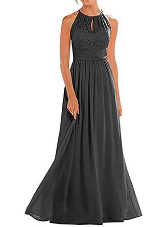 Vickyben Damen langes hoch Ausschnitt Halter Spitzen A-linie Chiffon  Abendkleid Hochzeit Kleid Ballkleid brautjungfer