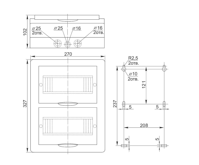 Aufputz Kleinverteiler Sicherungskasten 24 module IP40