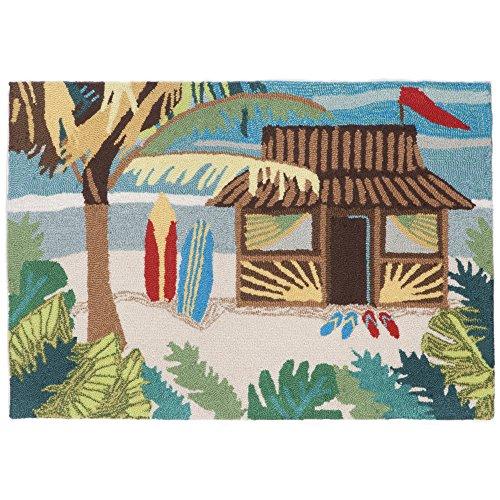 Liora Manne FTP34153644 Front Porch Coastal Hut Hawai Beach Surfing Shack Indoor/Outdoor Rug 2'6