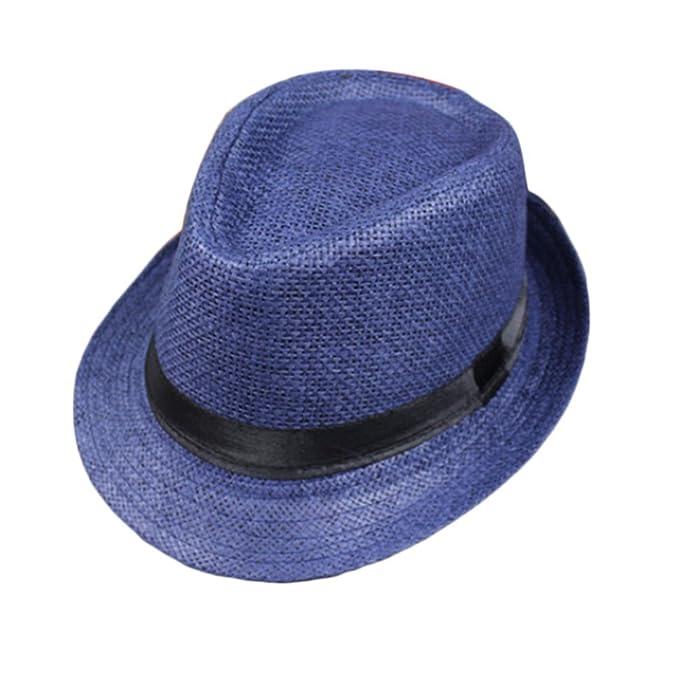 b2f99721b1f08 Leisial Sombrero de Jazz Playa Paja Panama Estilo Británico Deporte al Aire  Libre Gorro del Sol Sombrero Modelos de Pareja para Hombre Mujer