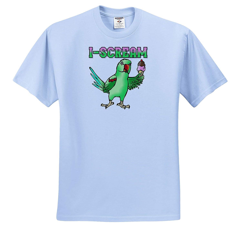 ts/_320525 Adult T-Shirt XL 3dRose Skye Elizabeth Designs Alexandrine Parakeet I Scream