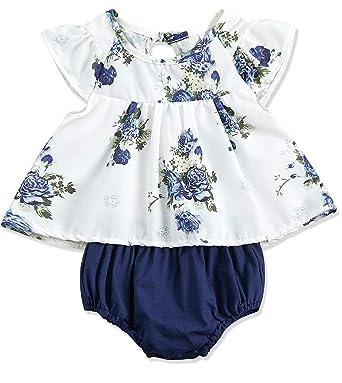 Amazon.com: Bebé recién nacido niñas ropa floral manga ...