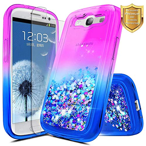 Galaxy S3 Case w/[Screen Protector HD], NageBee Glitter Liquid Quicksand Waterfall Floating Flowing Sparkle Shiny Bling Diamond Girls Cute Case for Galaxy S3 (S III I9300 GS3) -Purple/Blue
