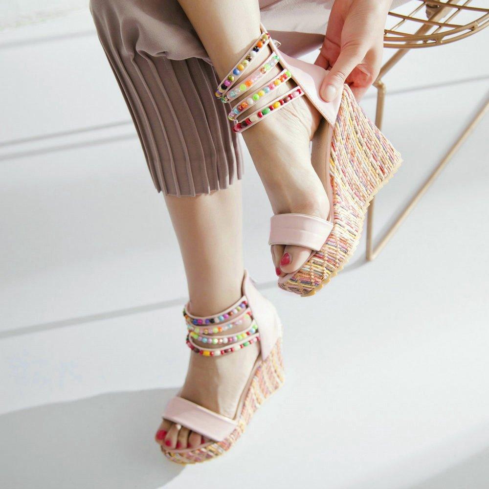 Women Wedge Sandals Fashion Platform Open Toe Summer Bohemia Strap Beaded Beads Espadrille Shoes B07CSH1XGY 6 B(M) US|Pink