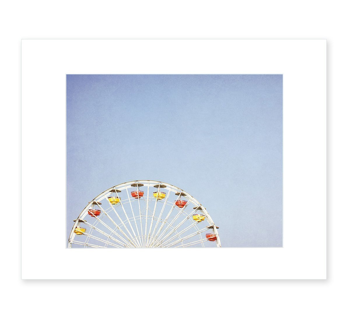 Blue Wall Art, Kids Nursery Picture, Carnival Photography, Modern Minimalist Decor, 8x10 Matted Photographic Print, (fits 11x14 Frame) 'Ferris Blue'