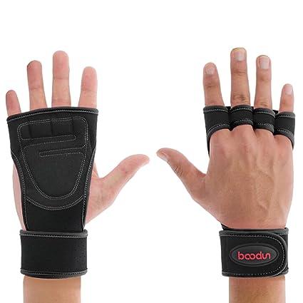Natuce - Guantes con muñecas de apoyo para levantamiento de pesas, guantes de entrenamiento WOD con palma ...