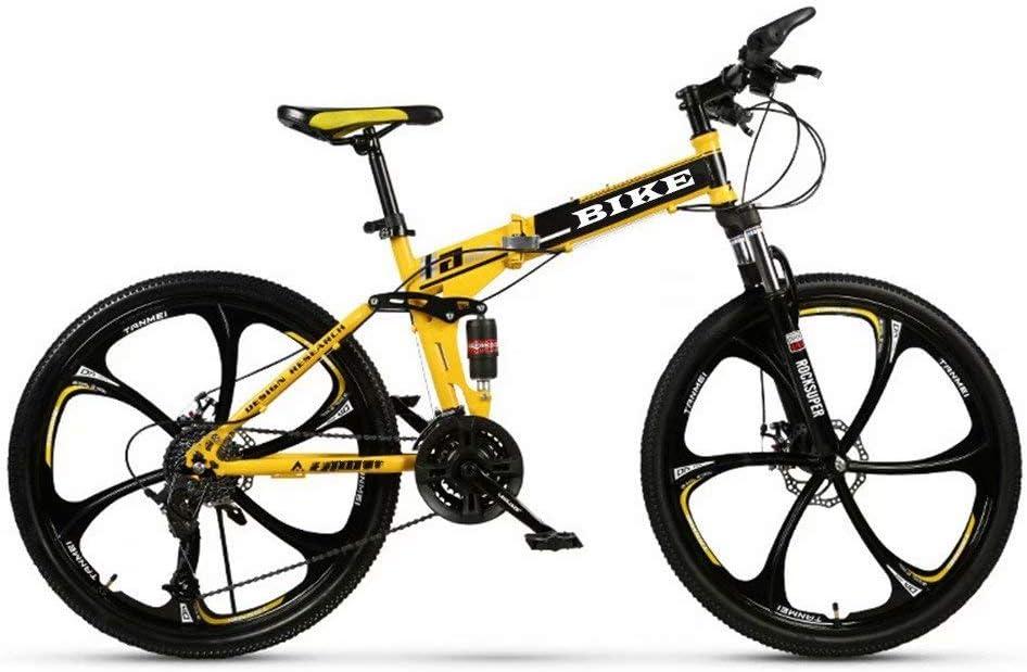NOVOKART Mountain Bike Unisex, Bicicletas de Montaña 24 Pulgadas, para Hombre y Mujer MTB Bike con Asiento Ajustable, Freno de Doble Disco, Amarillo, 3 Cortadores Rueda, 21-Velocidad Cambio: Amazon.es: Deportes y aire