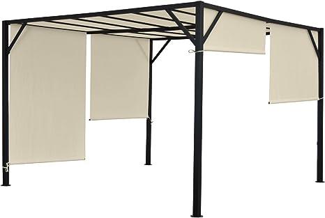 Baia - Pergola para jardín, cenador con estructura estable de aluminio de 6 cm, lonas ajustables para el techo, 4 x 3 m