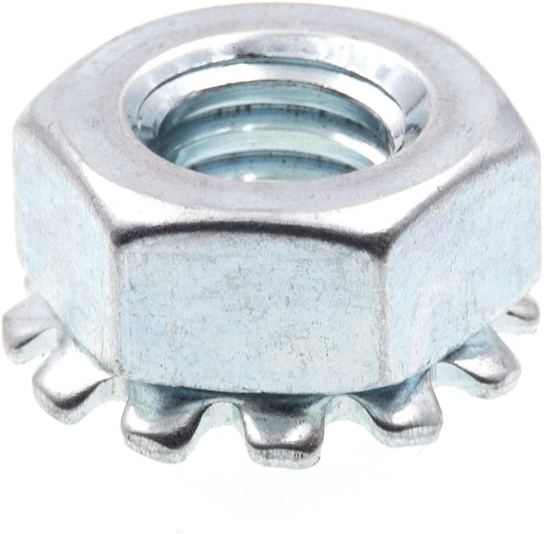 Prime-Line 9118861 K-Lock Nuts With External Tooth Washer, 1/4 in.-20, Zinc Plated Steel, 50-Pack
