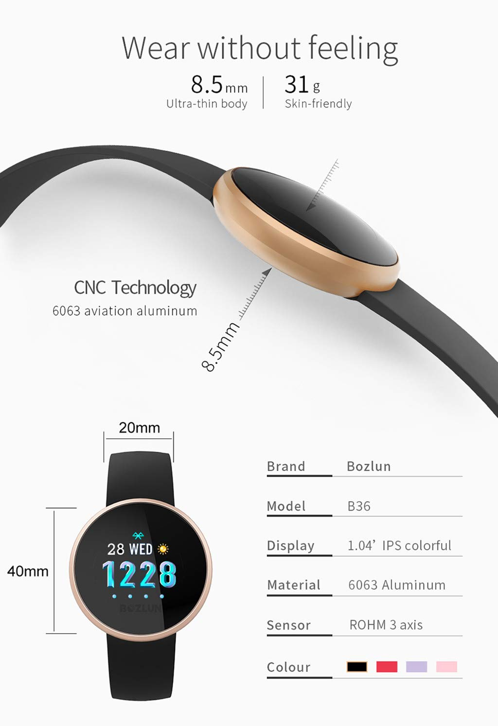 TADAMI Female Heart Rate Color Screen Physiological Period Reminds Fashion Smart Bracel (Black) by TADAMI Blouse (Image #6)