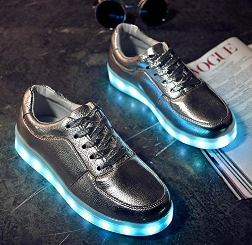 Cordones Zapatos 30 Usb Encaje Redonda Luminous Recargable Impermeables Toe Deporte Snekers Casual Unisex Tamaño Colores Led 46 Eu Onfly De Silver 7 Pump Pareja q8X66F