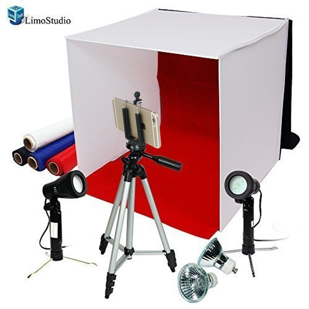 LimoStudio Photography Photo Studio 16'' Table Top Photo Tent 600Lumes LED Lighting Kit with 41'' Camera Tripod & Spring Clip Cell Phone Holder, AGG778V2
