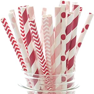 Valentines Day Party Paper Straws | 25 Pack | Red and Pink Premium Paper Straws | Party Supplies and Decor