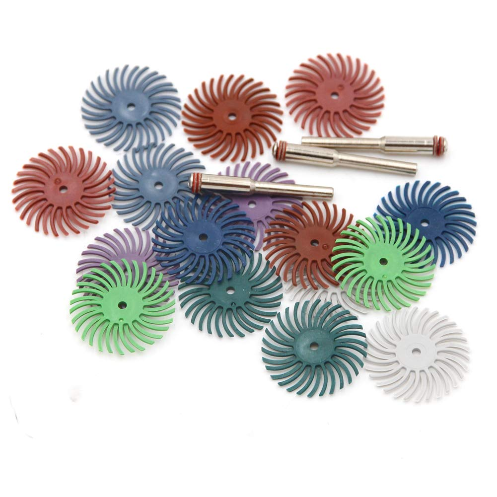 2500# Chiloskit 16 pcs 1 Radial Bristle Disc Brushes Kit for Rotary Tools for Nuclear Carving Polishing Car Paint Refinishing /& Wood or Metal Sanding,Grit 80#