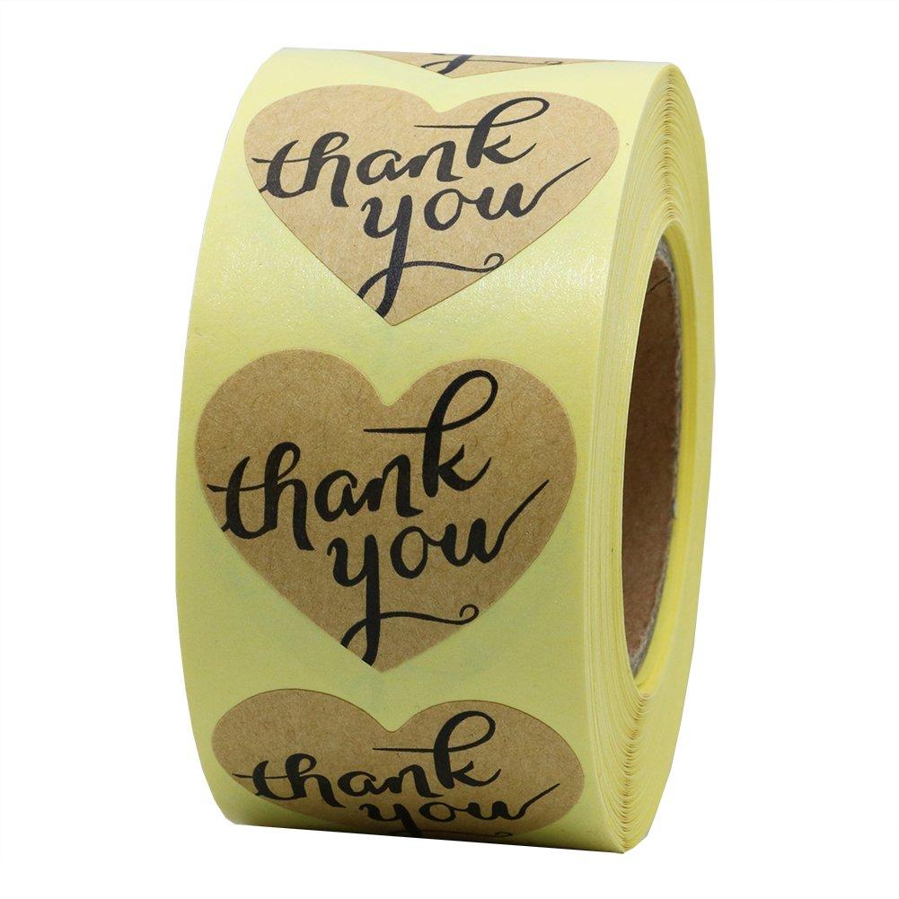 New hot sale a forma di cuore con scritta Thank You, carta Kraft marrone, adesivi a forma di cuore, con etichette adesive, confezione da 500, colore: nero Hybsk