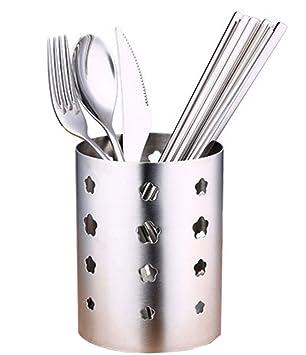 Soporte para utensilios de cocina, cocina de acero inoxidable cubertería recipiente para utensilios de cocina de almacenamiento de contenedores Organizador ...