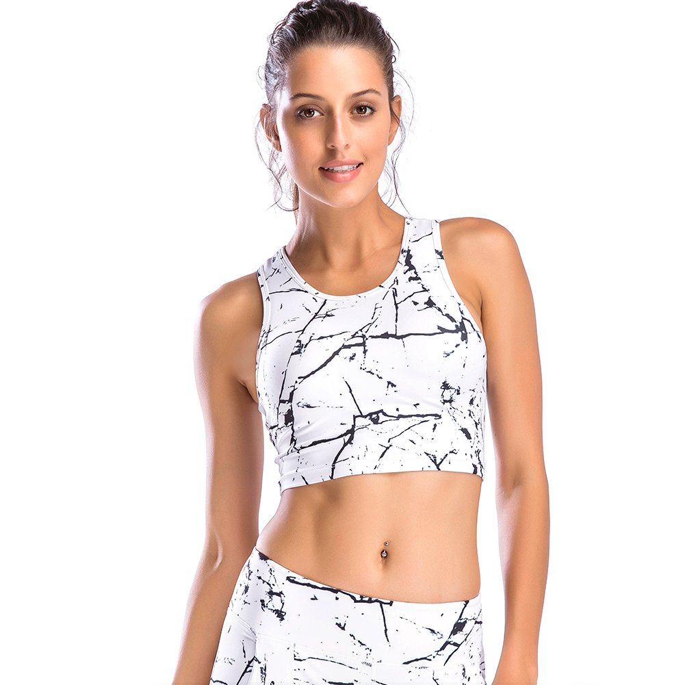 Move With You Womens Crop Tank Tops Workout Running High Neck Sports Bra with Built-in Bra Racerback by Move With You