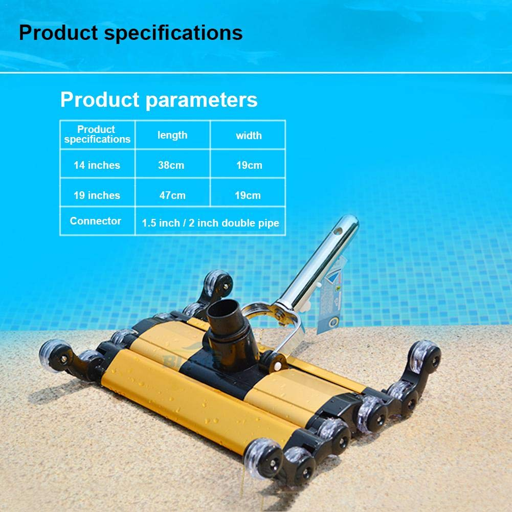 Millet.H Pool Water Cleaning Accessories Wide Cleaning Surface Pool Vacuum Head Flexible Swimming by Millet.H