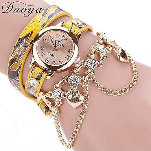 Scpink Relojes de Pulsera para Mujer, Reloj de Cuarzo Pop de Lujo de Moda con Reloj de Pulsera de Diamantes de imitación, dial Redondo, Reloj Digital, ...