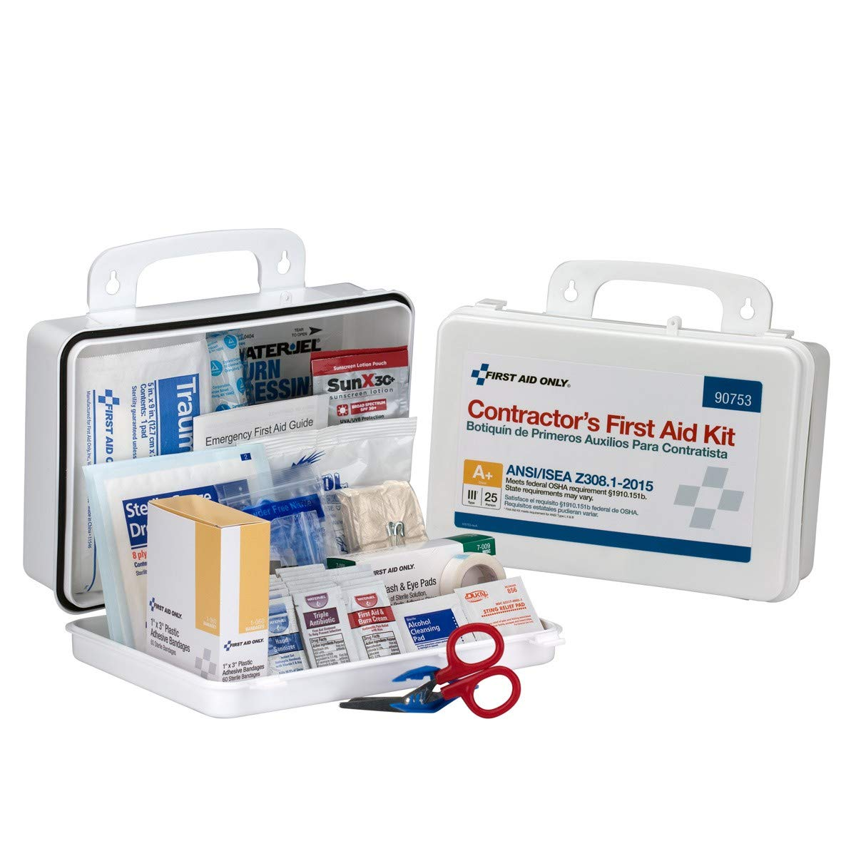 25 Person Contractor ANSI A+ First Aid Kit, Plastic Case Type III - OSHA Compliant 2018 First Aid Kit for Contractors Emergency Kit