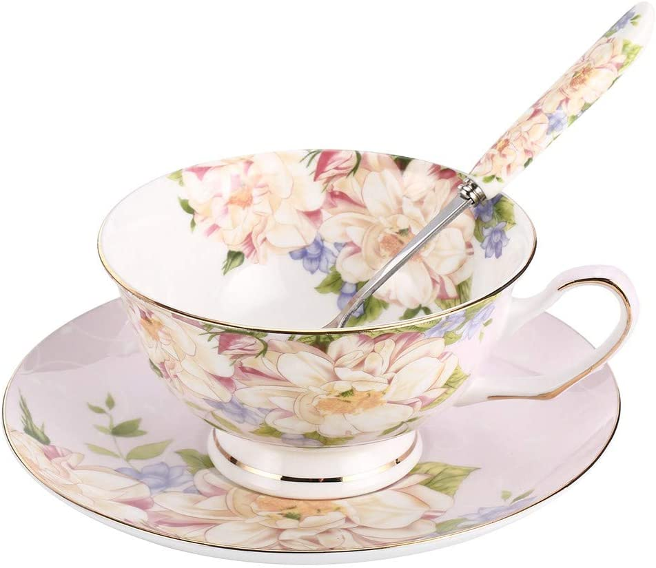 Vintage Gift for Her for Her Equestrian Gift Lucky Horseshoe Teacup and Saucer Blue and Pink Floral in an English Countryside