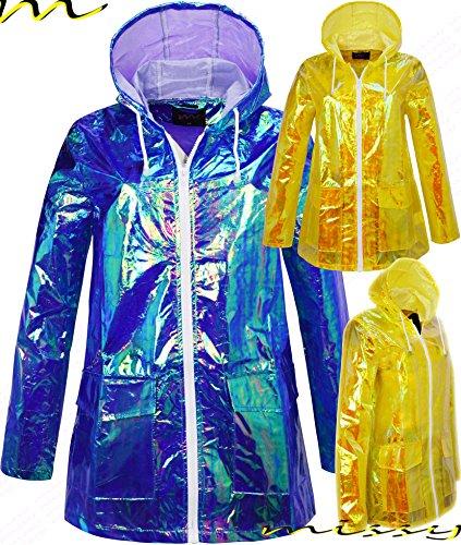 M1427 Ladies Waterproof RAIN MAC Parka Womens Festival Raincoat Sizes 8 16 Iridescent