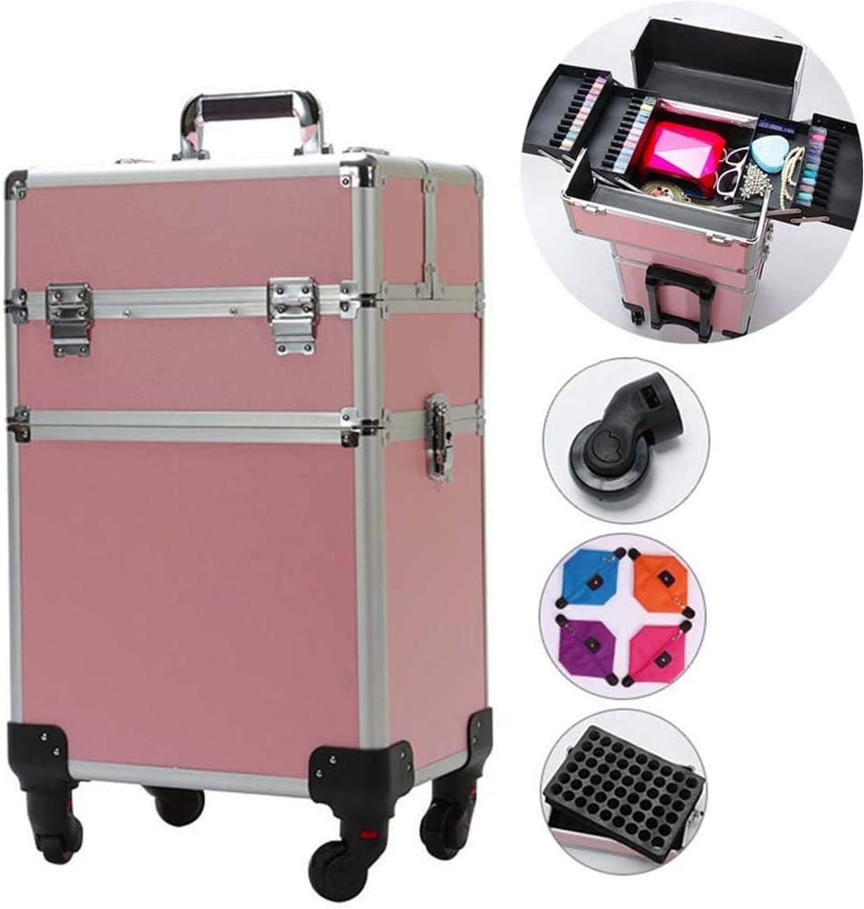 HZXLL - Bolsa de Viaje Grande para Equipaje, Maletas de Aluminio de Varios Pisos, maletín para el diseño de uñas, Organizador de Maquillaje, con 4 Funciones estables 360 ° universales
