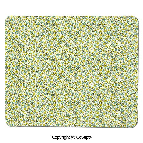 Mouse Pad,Doodle Style Cute Kids Girls Pattern with Daisy Flower Blooms,for Computer,Laptop,Home,Office & Travel(7.87