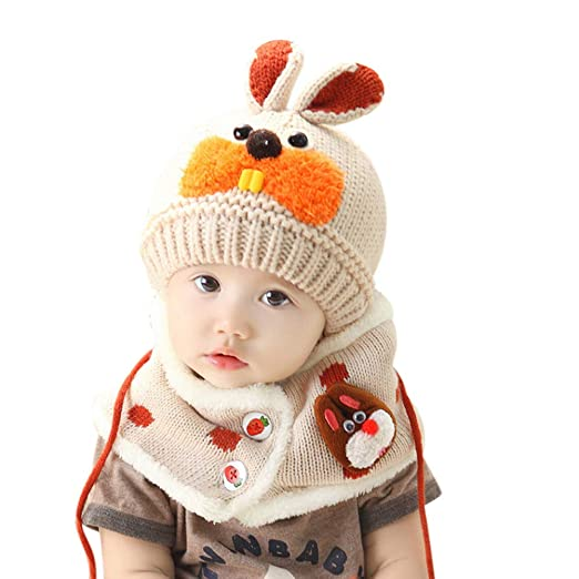 ba99ae7a19f Kids Toddler Winter Hat Scarf Winter Warm Hoodie Earflap Hat Wraps Scarf  Gloves