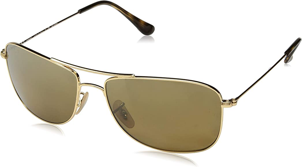 e2a171eee Ray-Ban RB3543 Chromance Mirrored Aviator Sunglasses, Gold/Polarized Bronze  Mirror, 59
