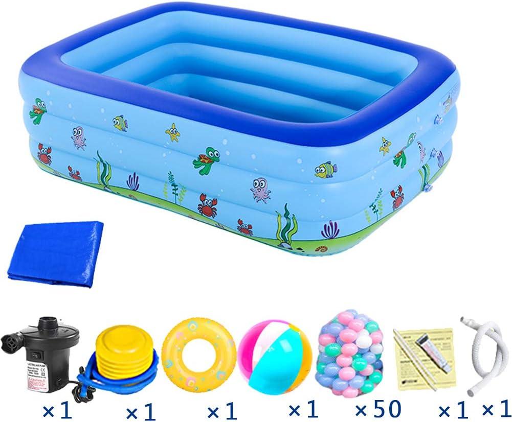 HLSUSAN Piscina Hinchable para Niños Espesar Piscina Infantil Azul Rectangular Piscina para Bebés Inflable Plegable con Juguetes y Accesorios para Fiesta Playa Jardín