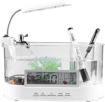 Breeding Tanks Pet Supplies Led Fish Tank Multifunctional 4 Gallon Aquarium Usb Rechargeable Mini Fish Tank Aquarium Starter Kits With Clock Function Led Light